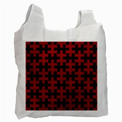 Puzzle1 Black Marble & Red Leather Recycle Bag (one Side) by trendistuff