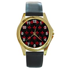 Royal1 Black Marble & Red Leather Round Gold Metal Watch by trendistuff