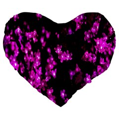 Abstract Background Purple Bright Large 19  Premium Flano Heart Shape Cushions by Onesevenart