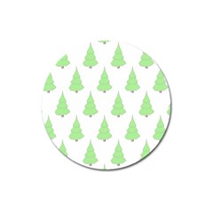 Background Christmas Christmas Tree Magnet 3  (round) by Onesevenart