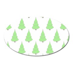 Background Christmas Christmas Tree Oval Magnet by Onesevenart