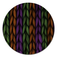 Background Weave Plait Purple Magnet 5  (round) by Onesevenart