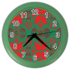 Christmas Background Color Wall Clocks by Onesevenart