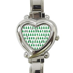 Christmas Background Christmas Tree Heart Italian Charm Watch by Onesevenart