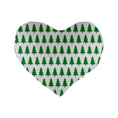 Christmas Background Christmas Tree Standard 16  Premium Flano Heart Shape Cushions by Onesevenart