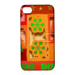 Christmas Design Seamless Pattern Apple Iphone 4/4s Hardshell Case With Stand by Onesevenart