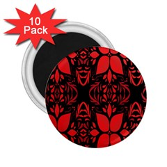 Christmas Red And Black Background 2 25  Magnets (10 Pack)  by Onesevenart