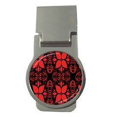 Christmas Red And Black Background Money Clips (round)  by Onesevenart