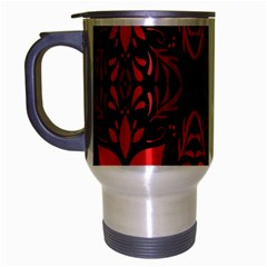 Christmas Red And Black Background Travel Mug (silver Gray) by Onesevenart