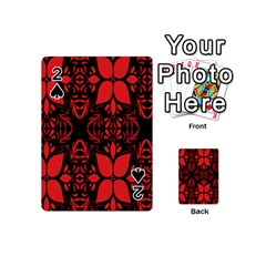 Christmas Red And Black Background Playing Cards 54 (mini)  by Onesevenart