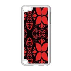 Christmas Red And Black Background Apple Ipod Touch 5 Case (white) by Onesevenart