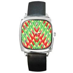 Christmas Geometric 3d Design Square Metal Watch by Onesevenart