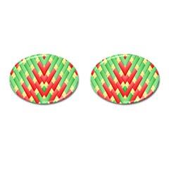 Christmas Geometric 3d Design Cufflinks (oval) by Onesevenart