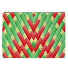 Christmas Geometric 3d Design Cosmetic Bag (xxl)  by Onesevenart