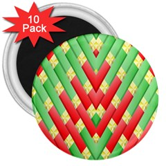Christmas Geometric 3d Design 3  Magnets (10 Pack)  by Onesevenart