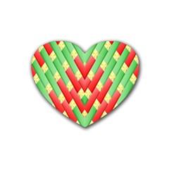 Christmas Geometric 3d Design Heart Coaster (4 Pack)  by Onesevenart