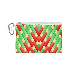 Christmas Geometric 3d Design Canvas Cosmetic Bag (s) by Onesevenart