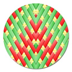 Christmas Geometric 3d Design Magnet 5  (round) by Onesevenart