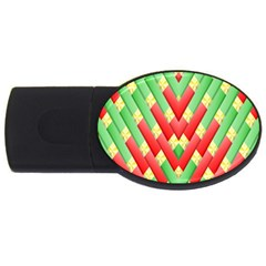 Christmas Geometric 3d Design Usb Flash Drive Oval (4 Gb) by Onesevenart