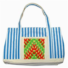 Christmas Geometric 3d Design Striped Blue Tote Bag by Onesevenart
