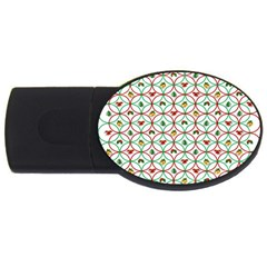Christmas Decorations Background Usb Flash Drive Oval (4 Gb) by Onesevenart