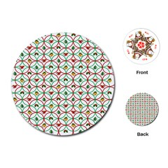 Christmas Decorations Background Playing Cards (round)  by Onesevenart