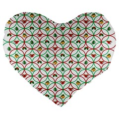 Christmas Decorations Background Large 19  Premium Heart Shape Cushions by Onesevenart