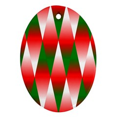 Christmas Geometric Background Oval Ornament (two Sides) by Onesevenart