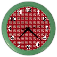 Christmas Paper Wrapping Paper Color Wall Clocks by Onesevenart