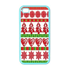 Christmas Icon Set Bands Star Fir Apple Iphone 4 Case (color) by Onesevenart