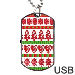 Christmas Icon Set Bands Star Fir Dog Tag Usb Flash (one Side) by Onesevenart