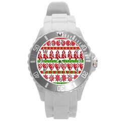 Christmas Icon Set Bands Star Fir Round Plastic Sport Watch (l) by Onesevenart