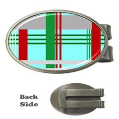 Christmas Plaid Backgrounds Plaid Money Clips (oval)  by Onesevenart