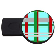 Christmas Plaid Backgrounds Plaid Usb Flash Drive Round (4 Gb) by Onesevenart