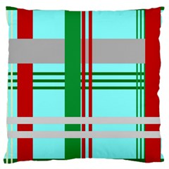 Christmas Plaid Backgrounds Plaid Large Cushion Case (two Sides) by Onesevenart