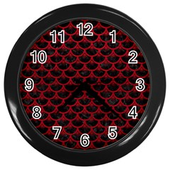 Scales3 Black Marble & Red Leather (r) Wall Clocks (black) by trendistuff