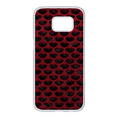 Scales3 Black Marble & Red Leather (r) Samsung Galaxy S7 Edge White Seamless Case by trendistuff