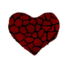 Skin1 Black Marble & Red Leather (r) Standard 16  Premium Flano Heart Shape Cushions by trendistuff
