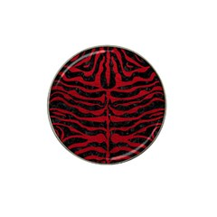 Skin2 Black Marble & Red Leather (r) Hat Clip Ball Marker by trendistuff