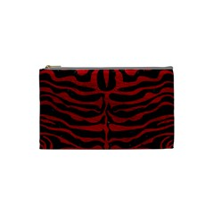 Skin2 Black Marble & Red Leather (r) Cosmetic Bag (small)  by trendistuff