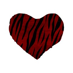 Skin3 Black Marble & Red Leather Standard 16  Premium Flano Heart Shape Cushions by trendistuff