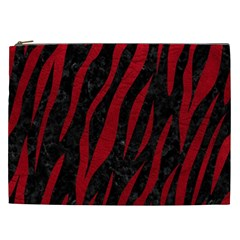 Skin3 Black Marble & Red Leather (r) Cosmetic Bag (xxl)  by trendistuff