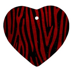 Skin4 Black Marble & Red Leather Ornament (heart) by trendistuff