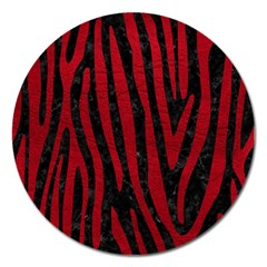 Skin4 Black Marble & Red Leather Magnet 5  (round) by trendistuff