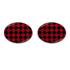 Square2 Black Marble & Red Leather Cufflinks (oval) by trendistuff