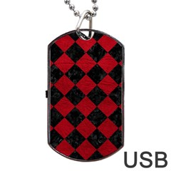 Square2 Black Marble & Red Leather Dog Tag Usb Flash (one Side) by trendistuff