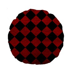 Square2 Black Marble & Red Leather Standard 15  Premium Round Cushions by trendistuff