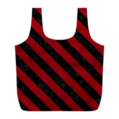 Stripes3 Black Marble & Red Leather Full Print Recycle Bags (l)  by trendistuff