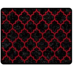 Tile1 Black Marble & Red Leather (r) Double Sided Fleece Blanket (medium)  by trendistuff