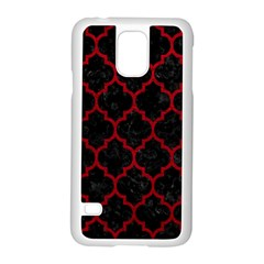 Tile1 Black Marble & Red Leather (r) Samsung Galaxy S5 Case (white) by trendistuff